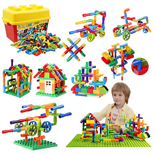 176 Piece Pipe Tube Toy, Sensory Toys, Tube Locks Construction Building Blocks, Educational STEM Building Learning Toys…