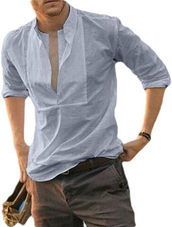 dahuo - Camiseta de Manga Larga para Hombre, Cuello en V, Estilo Hippie Gris Gris US XL: Amazon.es: Ropa y accesorios