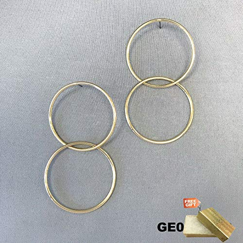 Elegant Unique Gold Tone Finish Double Round Circle Hoops Post Stud Earrings For Women Set + Gold Cotton Filled Gift Box