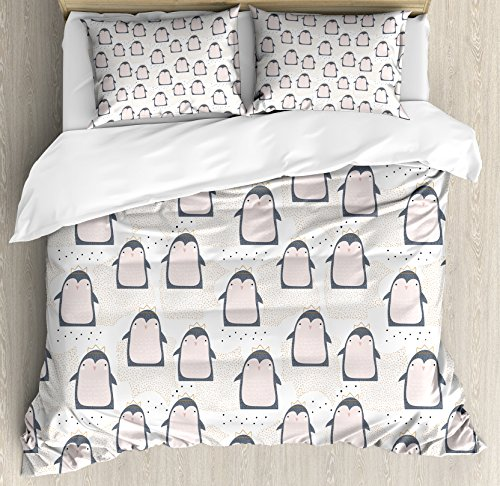 Ambesonne Penguin Duvet Cover Set, Doodle Style Cartoon Animals from Antarctica with Crowns on a Dotted Background, Decorative 3 Piece Bedding Set with 2 Pillow Shams, Kinge Size, Blue Grey -