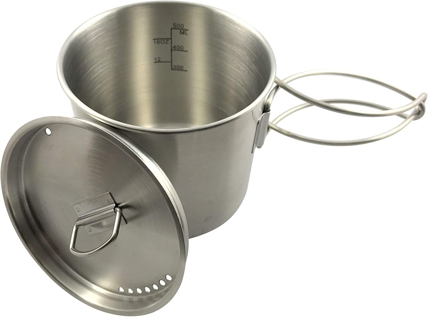 YIZAN Camping Backpacking Cup Pot Cook Set with Vented Lid Folding Handles for Hiking Camping