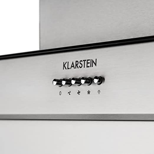 Klarstein Zola - Campana extractora, Extractor, Extractor de pared, Aspiración/Ventilación, 3 Niveles, Potencia: 635 m³/h, Silenciosa, Cristal, LED, Montaje en pared, 90 cm, Plateado: Amazon.es: Grandes electrodomésticos