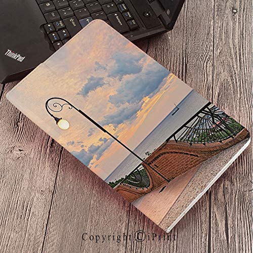 CaseforSamsungGalaxyT820 T825 Slim Folding Stand Cover PUTabS3 9.7,Italian Decor,Dawn at Ortona Abruzzo Italy Terrace View on The Adriatic Sea,Light Caramel and White