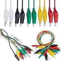 30 x krokodillenklemmen met kabel, elke maat met 5 kleuren krokodillenklemmen, isolerende draadkabel, dubbele koperen…