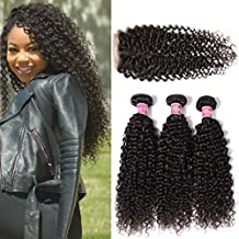 Unice Hair 6a Brazilian Virgin Curly Hair with Free Part Lace Closure Unprocessed Virgin Brazilian Human Hair Extensions Natural Color (20 22 24+16 Free Part)