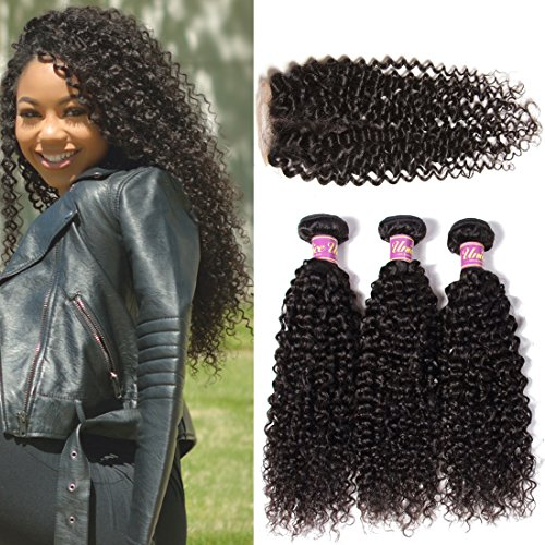 UNice Hair Brazilian Virgin Curly Hair 3 Bundles with Free Part Lace Closure, 100% Unprocessed Brazilian Human Hair Weave Extensions Natural Color (20 22 24+16 Free Part)