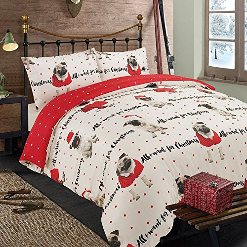 All I Want For Christmas Pug 2 Piece UK King /US Queen Sheet Set, 1 x Double Sided Sheet and 2 x Pillowcases (Sheet Set Pug)