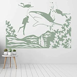 The Underwater World Diving Scene Shark Marine Life Theme Vinyl Glass Kids Room Aquarium Interior Decor 74x104cm art quote wall sticker,removable DIY craft,home decor wall decal,PVC vinyl waterproof m