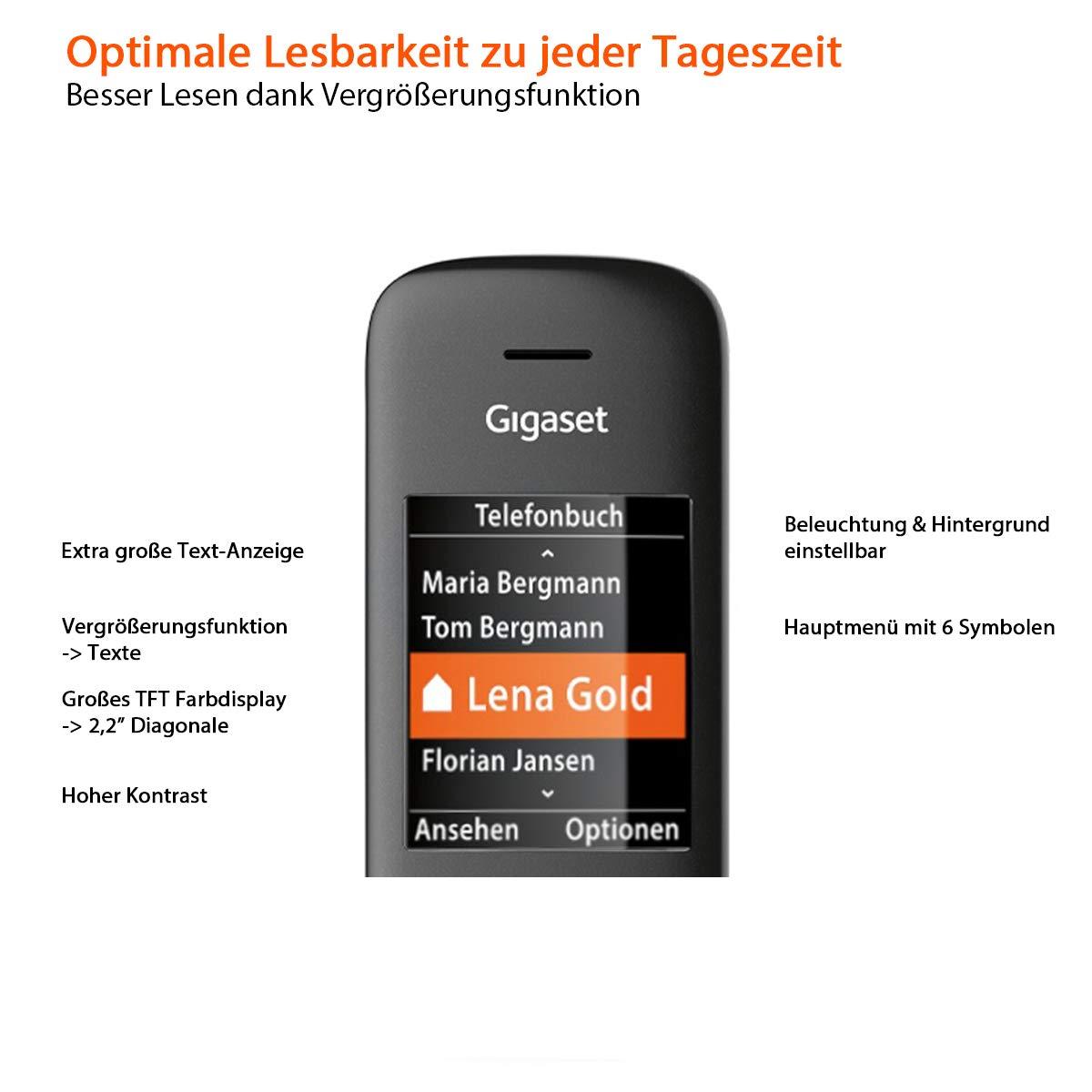 schwarz Gigaset C570A Duo 2 schnurlose Telefone mit Anrufbeantworter Komfort mit gro/ßer Nummernanzeige, DECT-Telefone mit Farbdisplay, einfache Bedienung