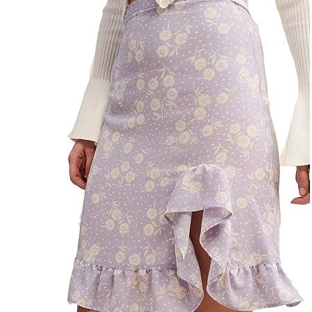 J-TUMIA-D Falda de Mujer Volantes Irregulares Dobladillo Cintura ...