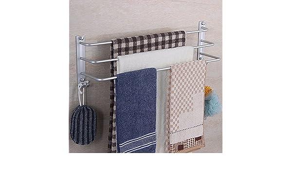 PEIWENIN-Cuarto de baño WC espacio de aluminio de tres polos barra de toalla barra de toallas toalla toalla toalla toalla toalla colgando, 60cm: Amazon.es: ...