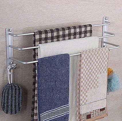 PEIWENIN-Cuarto de baño WC espacio de aluminio de tres polos barra de toalla barra