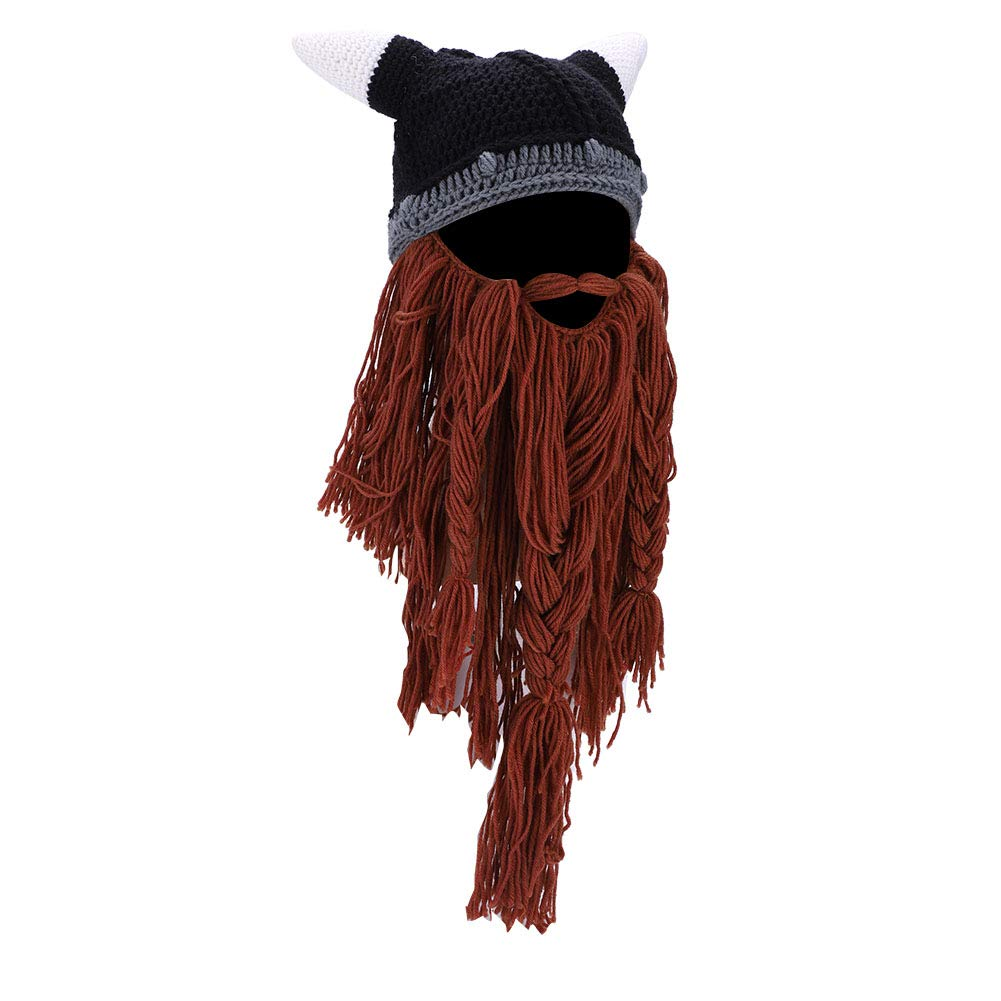 Beard Hats, Knit Viking Horns Winter Warm Hat Bull Cow Horn Cosplay Beard Head Halloween Beanie Caps(Black) VGEBY