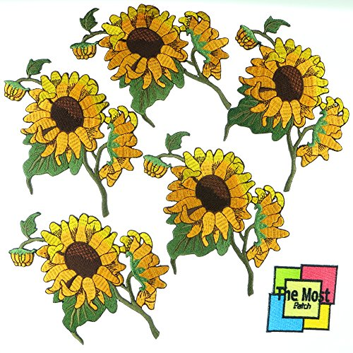 Lot of 6 (5+1) Sunflower Growing Fresh Flower Bloom Plant Embroidered Iron / Sew On Patch