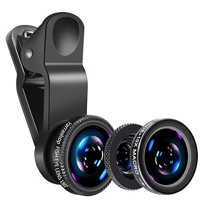 Universal Phone Camera Lens - Luxsure 5 in 1 Phone Lens Kit with 180°  Fisheye Len + Super Wide Angle Lens + 10X Macro Lens for iPhone 7/6s