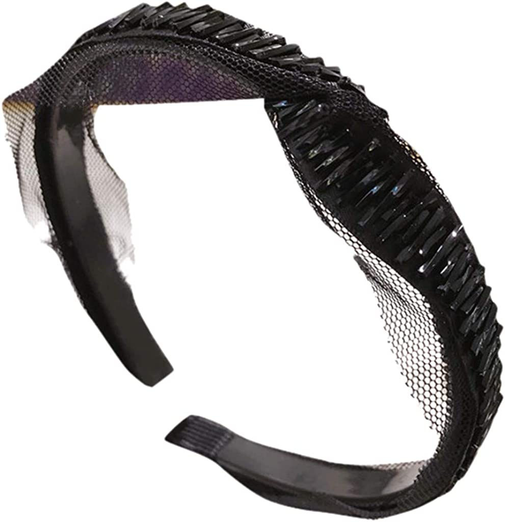 Hairband for Women Mesh Cross Crystal Beaded Plastic Hair-Band Accessories for Girls and Women