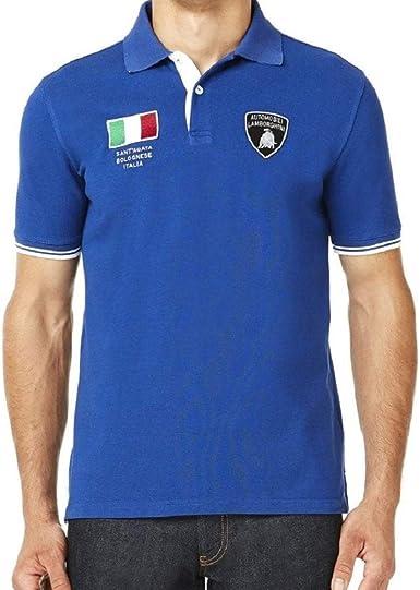 Lamborghini Hombre Bandera Italiana SS Polo Cobalto S: Amazon.es ...