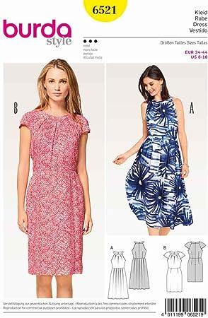 Burda Patron De Costura Para Patrones De Costura Para Vestidos De Mujer Tallas 8 18 Burda 6521 Amazon Es Hogar