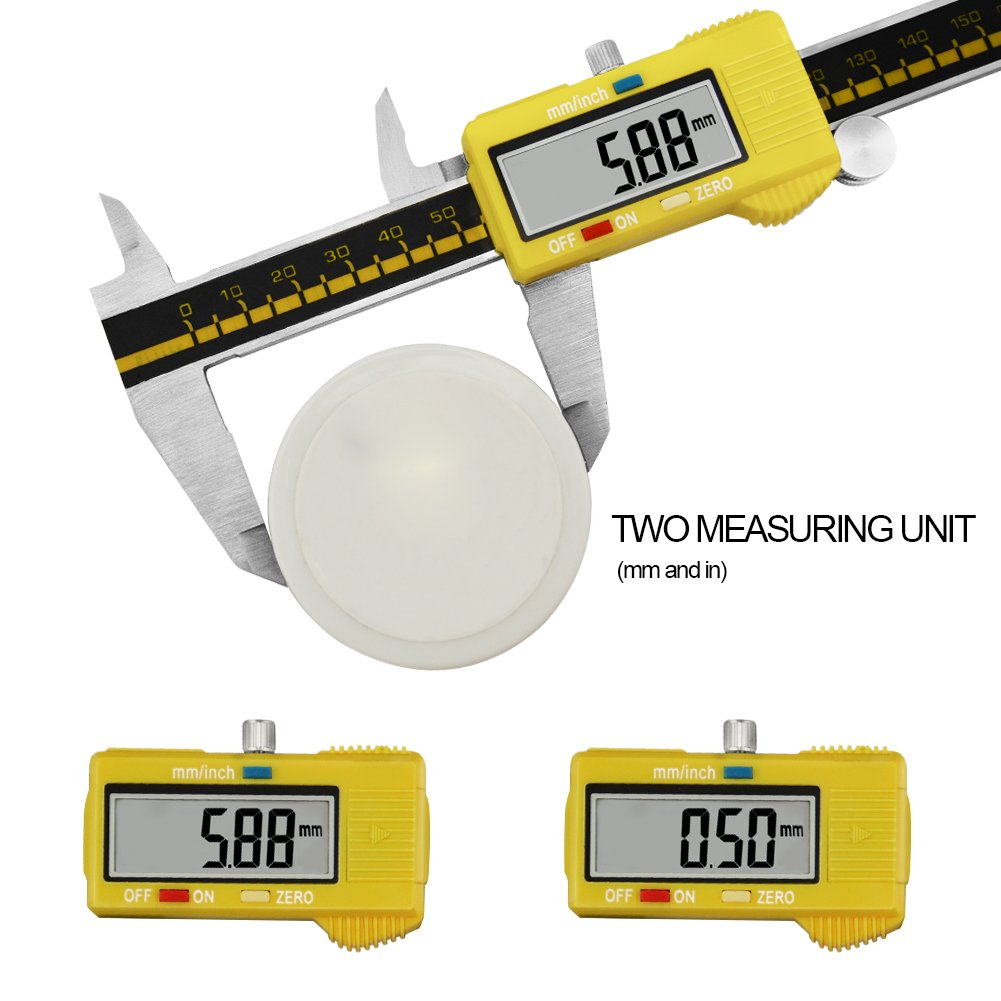 Digital Caliper Stainless Steel Body Electronic Gauge Vernier with LCD Screen High Precision 150mm/6inch Measuring Tool Inch/Metric Conversion (Yellow) by pcmos (Image #2)