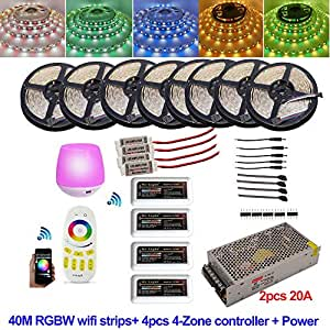 98.4ft/30M 131ft/40M 5050 RGB RGBW RGBWW Mi Light WIFI Timer Led Strip Full kit with Remote Controller and Power supply