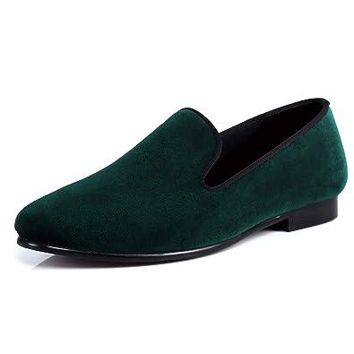 fa170ecb30f48 Amazon.com | Men Velvet Slippers Plain Handmade Slip-on Loafer Shoes ...