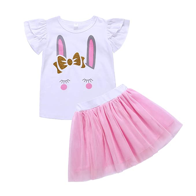 88884e686df Easter Kids Toddler Baby Girls Dress Outfit Bunny Rabbit Short Sleeve T- Shirt Top+