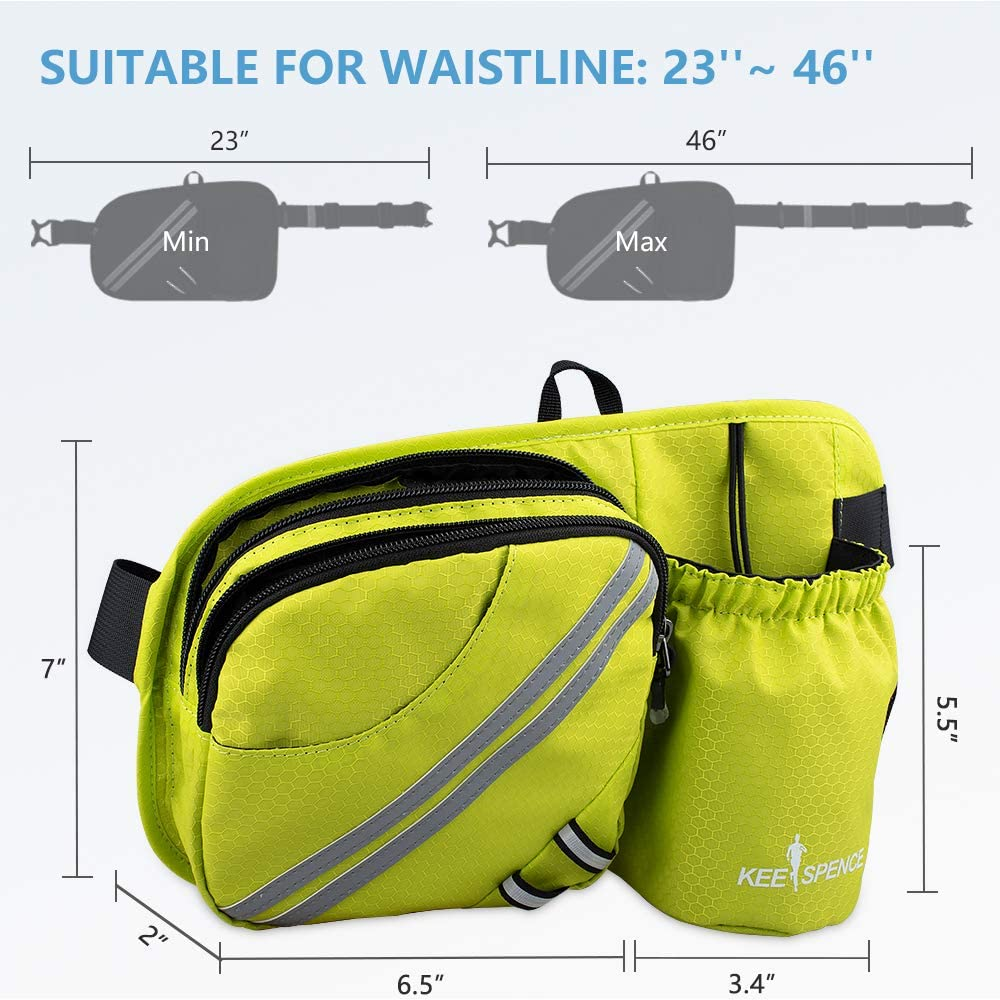 Fit iPhone 8 Plus//XS Max// 6.5 Large Smartphones Waist Bag with Water Bottle Holder for Men Women Outdoors Walking Running KEESPENCE Hiking Fanny Pack Dog Fanny Pack
