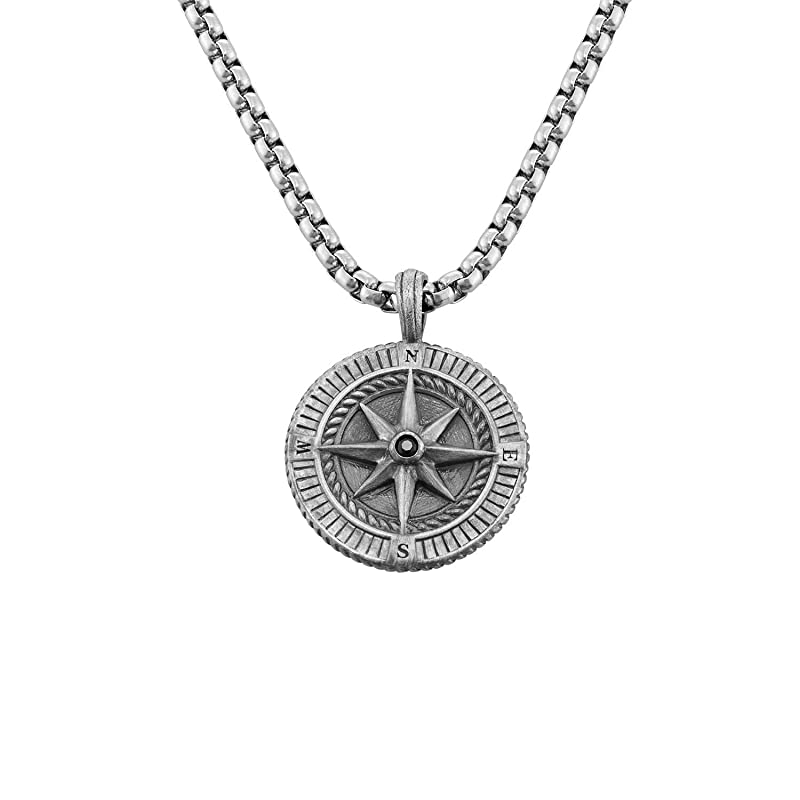 fathers day gift Christmas gift for boyfriendGift for Him Men\u2019s Compass Necklace Sterling Silver on Sterling Silver Ball Chain