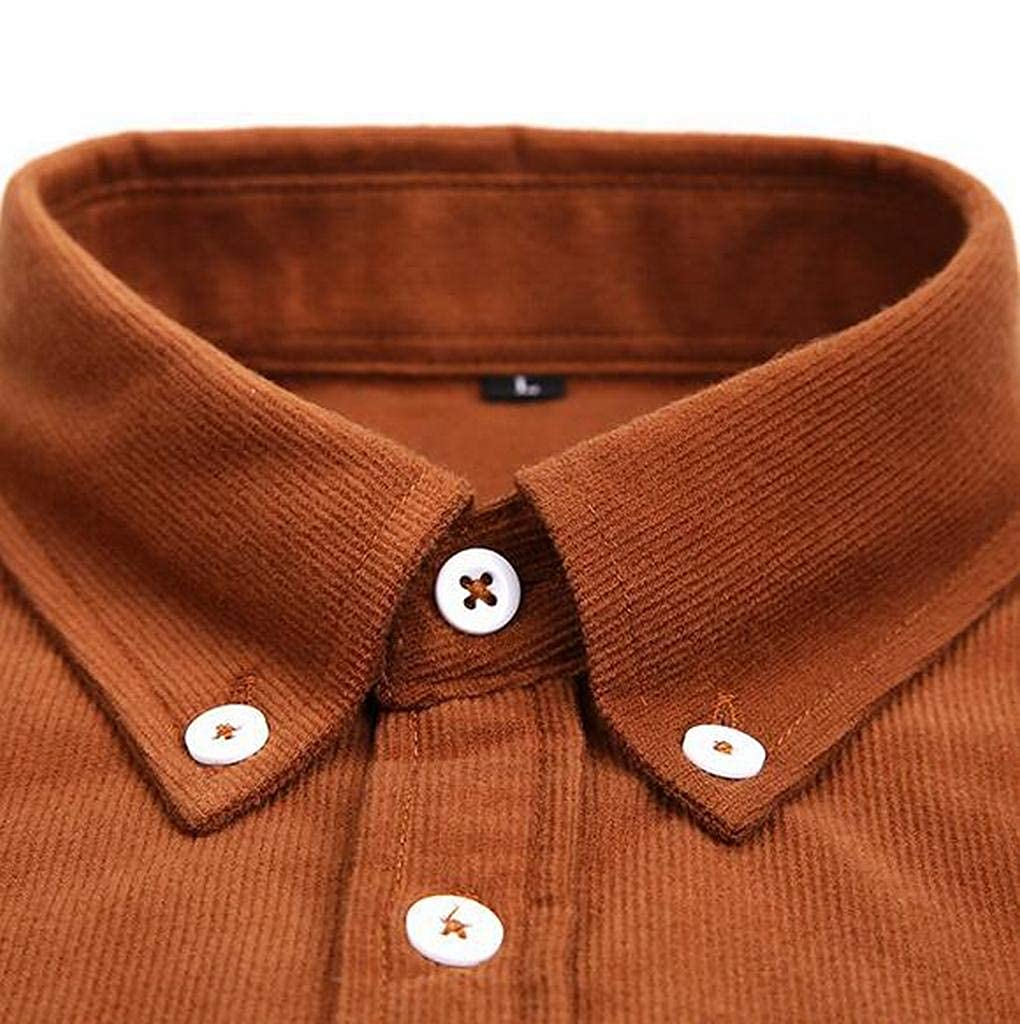 Fubotevic Men Corduroy Regular Fit Long Sleeve Solid Button Down Casual Business Dress Shirt