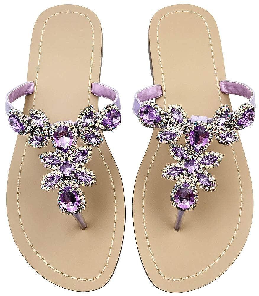 Purple Women's Summer T-Strap Bohemian Rhinestone Slip On Flip Flops Flat Sandals