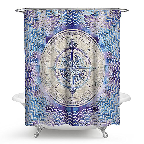 JANNINSE Romantic Tones Fantasy Stripe Ocean Scale Compass Theme Series Shower Curtain Mildew Antibacterial Polyester Shower Screen 60 X - Series Theme Scale Tables