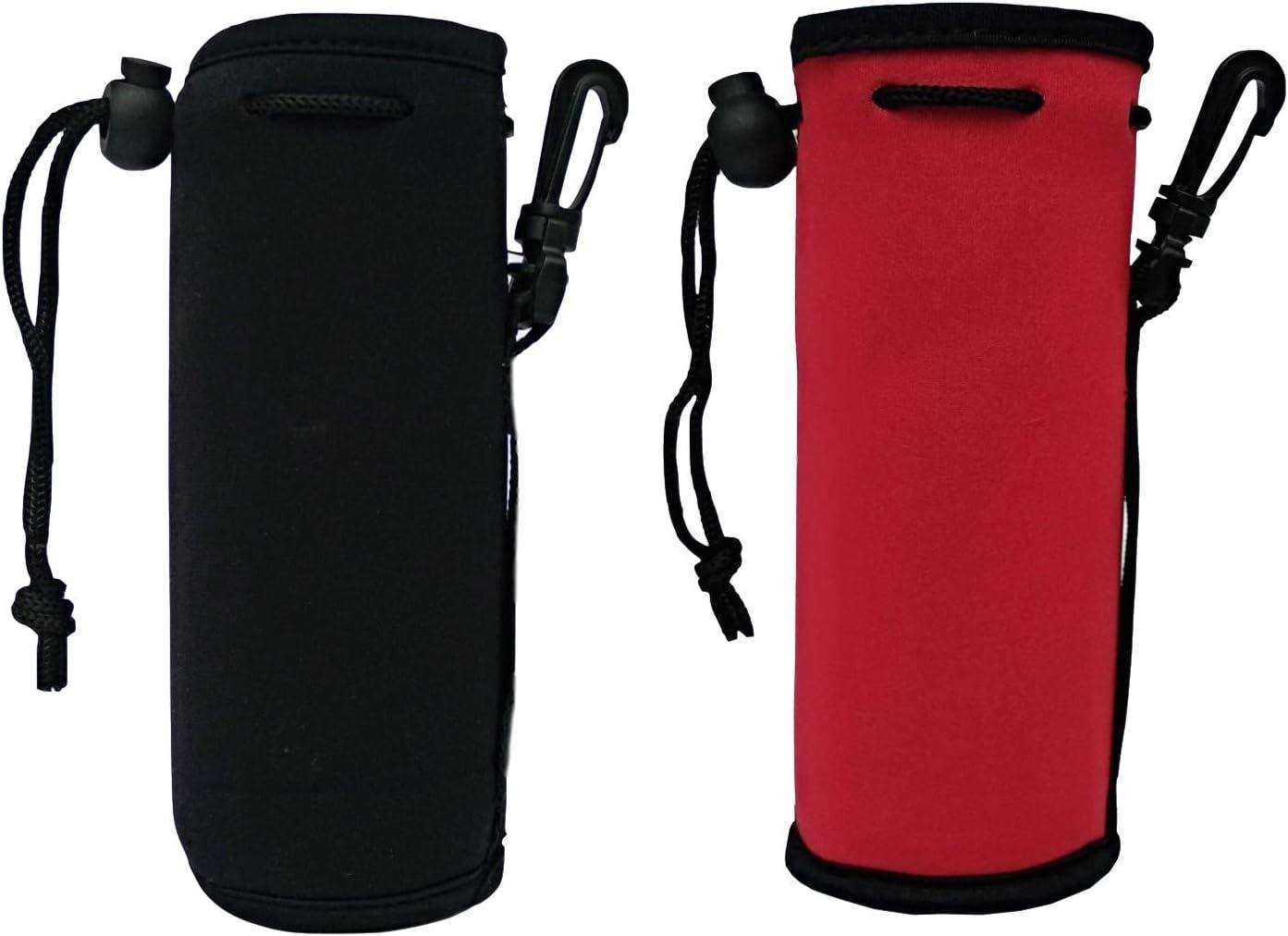 2 Pack Insulated Neoprene Bottle Sleeves Carrier Neoprene Holder Bag Protect for Cooler/Coolie/Cover/Insulator/Holder/Huggie/Sleeve for 16.9 oz Water and Drink Bottle (Red/Black)
