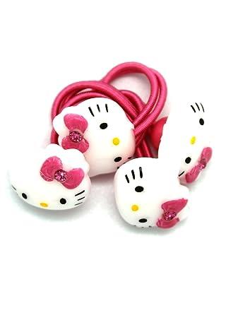 Amazon.com  Pink Hello Kitty Face Hair Ties (2 Piece) - 2 Piece ... 6a6b62aa3c3