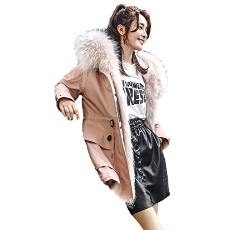 Donna Medio Rosa Cappotti Giacche Lungo Parker Fodera Stile Per doBWCQreEx