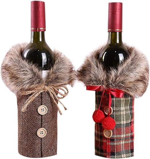 Decoración de mesa, regalo de Navidad, botella de vino, bolsas de ...