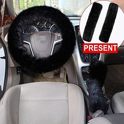 Forala 1 Set 5 Pcs Car Steering Wheel Cover & Handbrake Cover & Gear Shift Cover Set & Seat Belt Shoulder Pads Faux Wool Warm Winter (Wine Red) (Black): Automotive