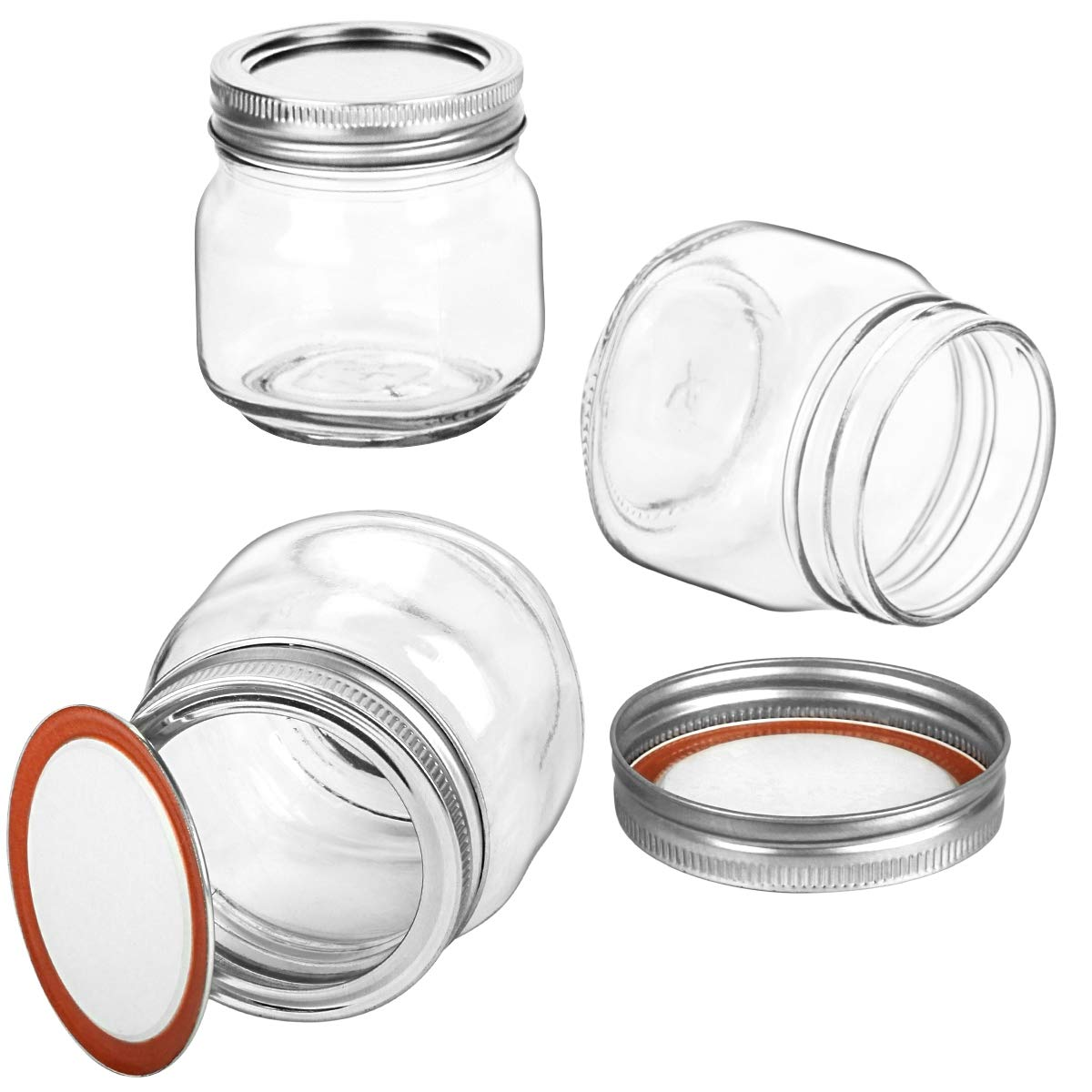 KAMOTA Mason Jars 8OZ With Regular Silver Lids and Bands, Ideal for Jam, Honey, Wedding Favors, Shower Favors, Baby Foods, DIY Magnetic Spice Jars, 24 PACK, 30 Whiteboard Labels Included by KAMOTA (Image #3)