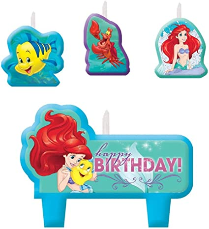 Amazon.com: Disney Ariel Dream Big – Vela de cumpleaños set ...