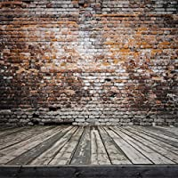 10x10 ft Wood Floor Brick Wall Photography Backdrop no Splicing Backgrounds for Photo Studio FT0077T