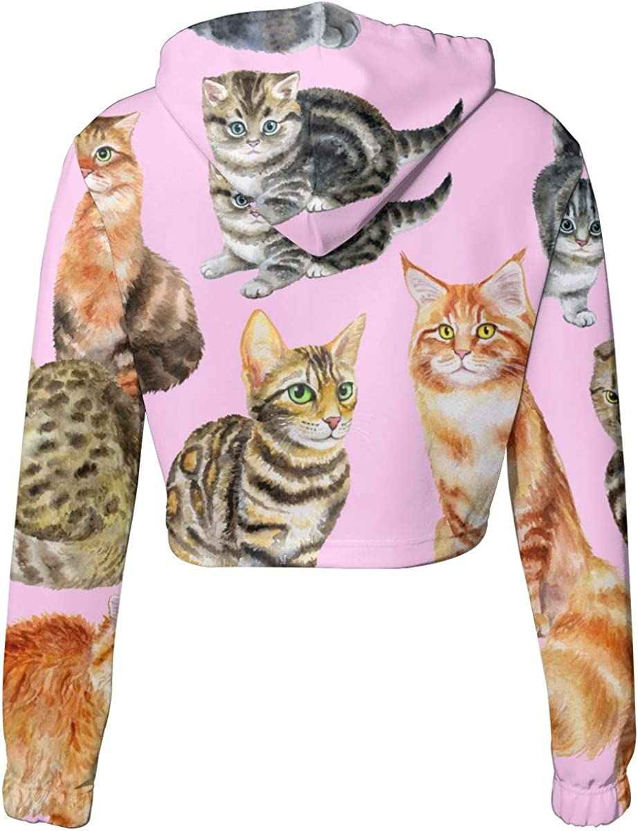 Womens Cats Crop Tops Pullover Hoodie Kawaii Long Sleeve Sweatshirts Hoody