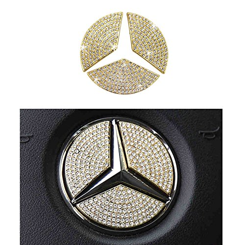 1797 Mercedes Accessories Benz Parts Trim Steering Wheel Logo Emblem Badge Decal Interior Visors Decorations W205 W212 W213 C117 C E S CLA GLA GLK Class AMG Women Bling Crystal Gold 49mm 1.93in 3pcs from 1797