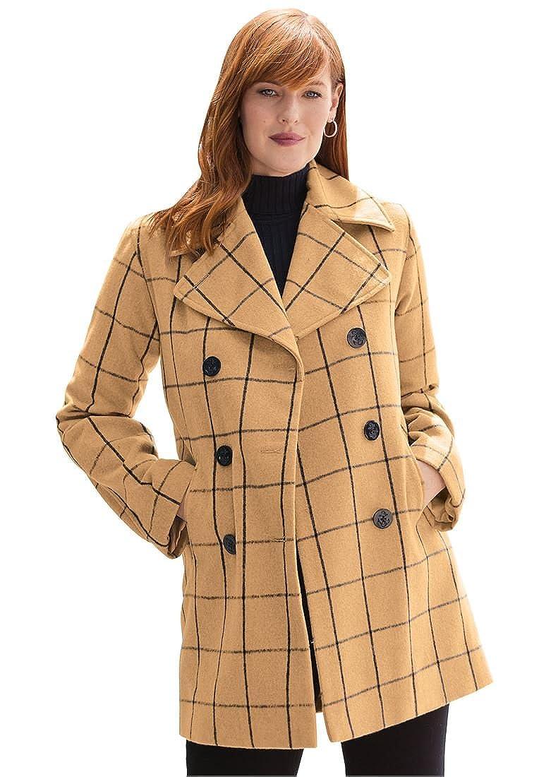 b3631680cbc4 Amazon.com  Jessica London Plus Size Classic Wool Pea Coat  Clothing