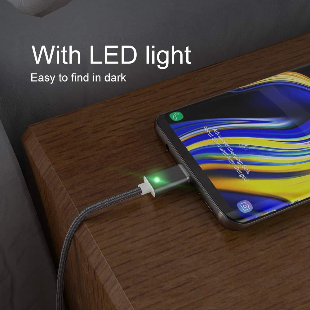 NetDot Gen7 Nylon Trenzado Type-C Cable de sincronizaci/ón y Carga de Datos magn/éticos Compatible con USB-C Smartphone y Tablet 1M Type-C//Silver