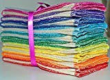 Paperless Towels, 2-Ply, Heavy Duty Made from Organic Cotton Birdseye Fabric - 11x12 inches (28x30.5 cm) Set of 10 in Rainbow Assortment,