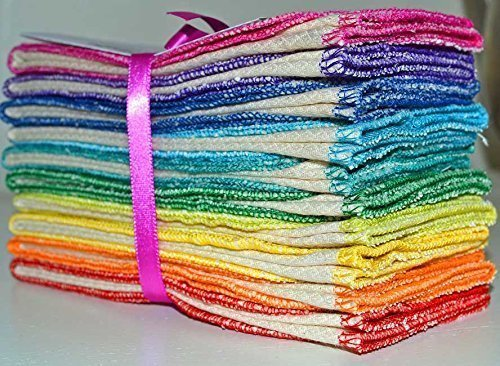 Paperless-Towels-2-Ply-Heavy-Duty-Made-from-Organic-Cotton-Birdseye-Fabric-11x12-inches-28x305-cm-Set-of-10-in-Rainbow-Assortment