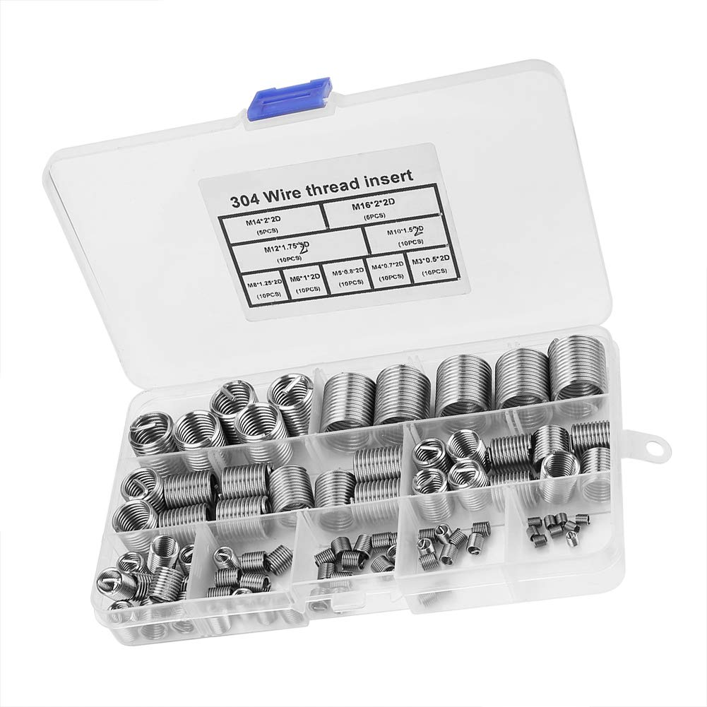 80pcs M3-M14 SS304 Stainless Steel Thread Inserts Coiled Wire Helical Screw Thread Insert Thread Repair Inserts Thread Inserts Set
