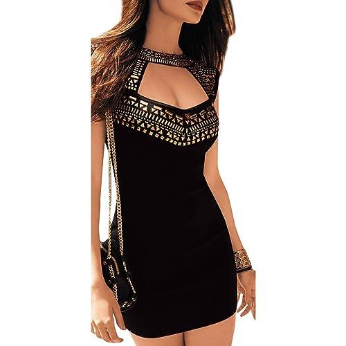ABILIO – vestito nero abito donna festa vestitino borchie oro minivestito party discoteca_NERO_M