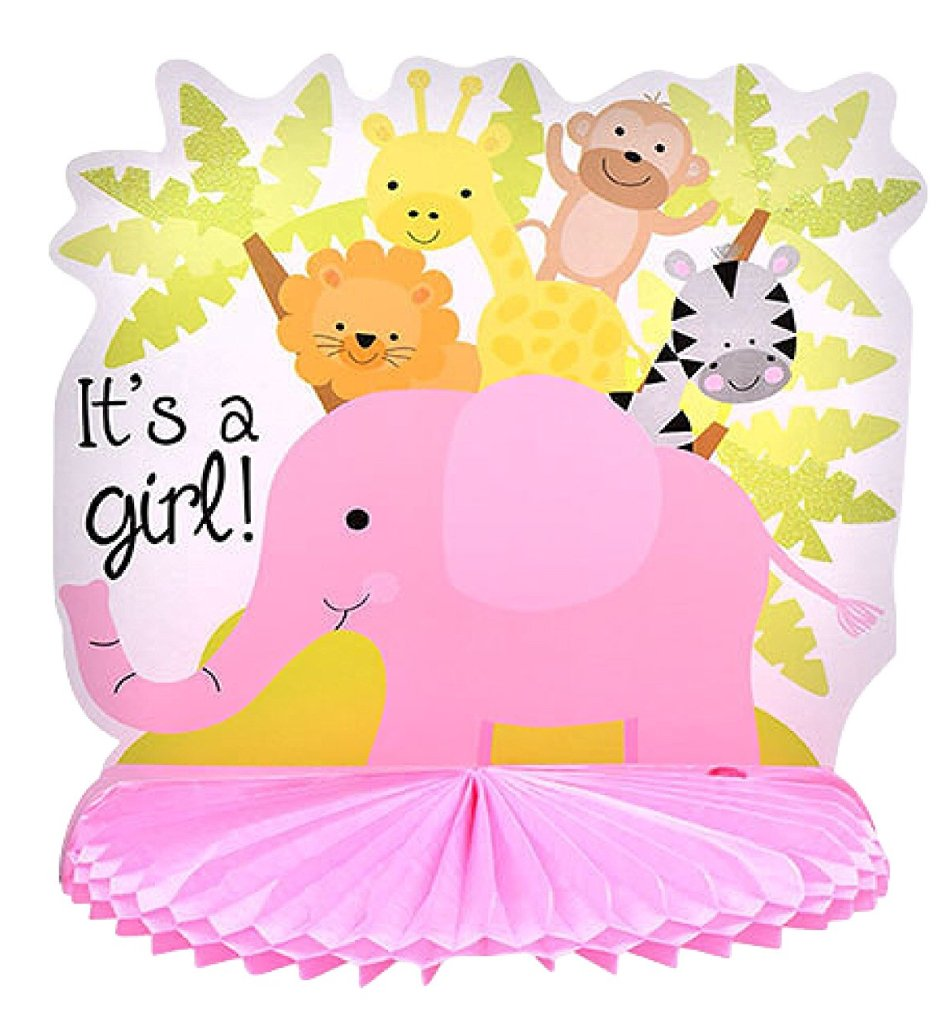 """Pink """"It's a Girl!"""" Baby Shower Centerpiece Decoration, 10 in"""