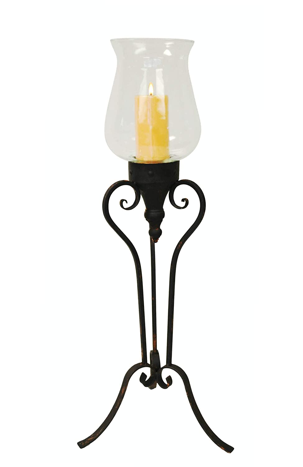CL229317 PierSurplus Large Floor Standing Metal and Glass Hurricane Candle Holder Product SKU