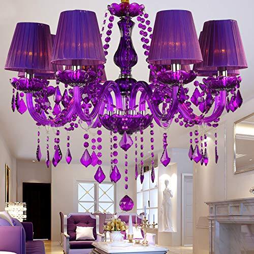 Crystal Chandelier Purple lampshades lustres de Cristal para sala Modern Chandeliers Lighting Fixture for Living Dining Room - Cristal Lighting Wall